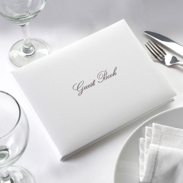 White & Silver Wedding Guest Book